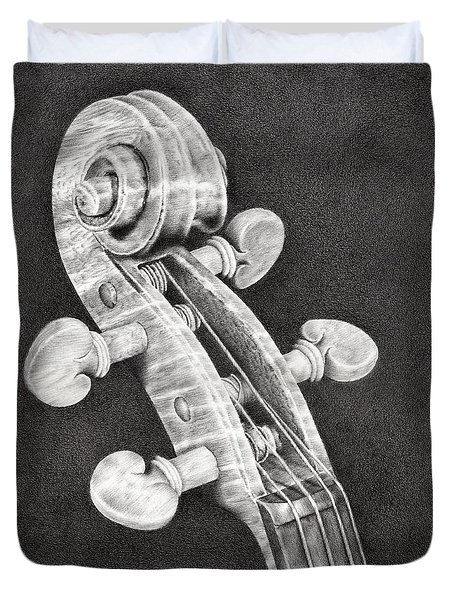 Violin Scroll Duvet Cover