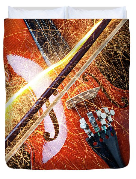 Violin With Sparks Flying From The Bow Duvet Cover