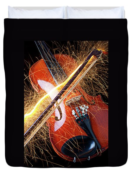 Violin With Sparks Flying From The Bow Duvet Cover by Garry Gay