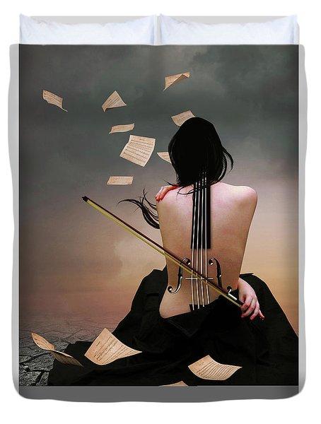 Violin Woman Duvet Cover