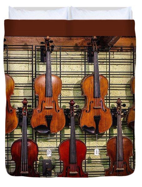 Violins In A Shop Duvet Cover