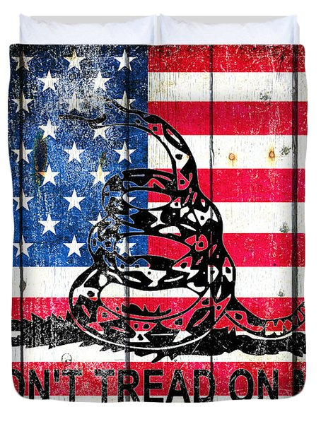 Viper On American Flag On Old Wood Planks Duvet Cover
