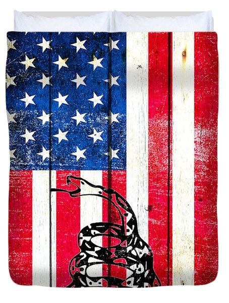 Viper On American Flag On Old Wood Planks Vertical Duvet Cover