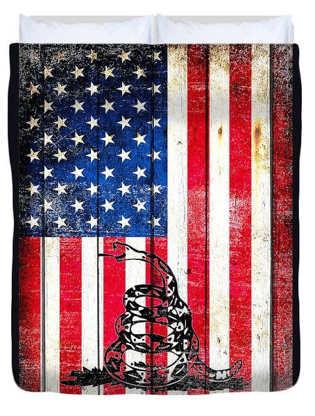 Viper On American Flag On Old Wood Planks Vertical Duvet Cover