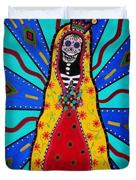 Virgen Guadalupe Dia De Los Muertos Duvet Cover
