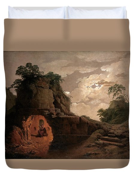 Duvet Cover featuring the painting Virgil's Tomb By Moonlight With Silius Italicus Declaiming by Joseph Wright of Derby