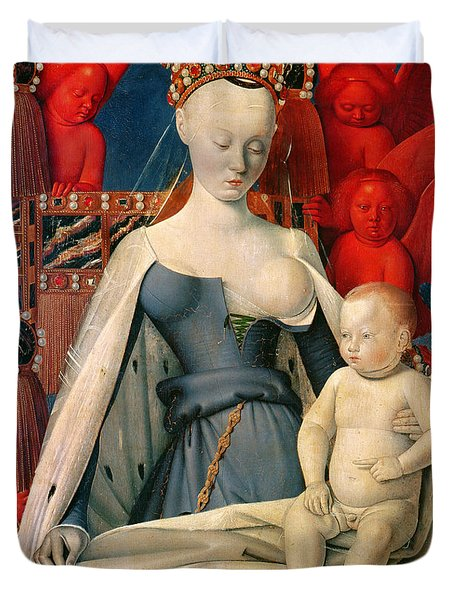 Virgin And Child Surrounded By Angels Duvet Cover by Jean Fouquet