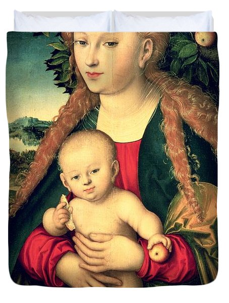 Virgin And Child Under An Apple Tree Duvet Cover by Lucas Cranach the Elder