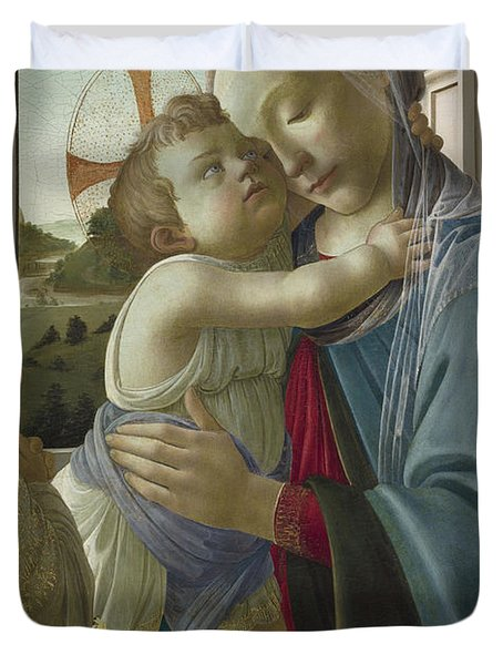 Virgin And Child With An Angel Duvet Cover