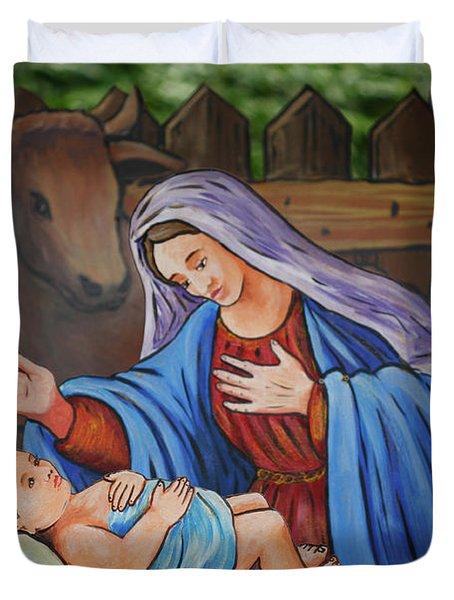 Virgin Mary And Baby Jesus Duvet Cover by Gaspar Avila