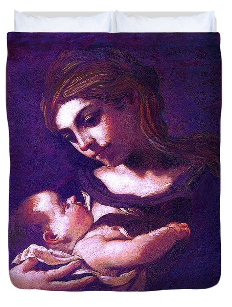 Virgin Mary And Baby Jesus, The Greatest Gift Duvet Cover