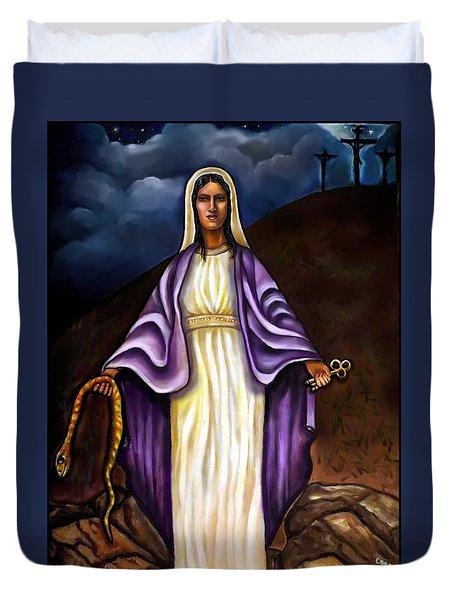 Virgin Mary- The Protector Duvet Cover by Carmen Cordova