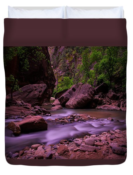 Virgin River The Narrows Zion National Park Duvet Cover