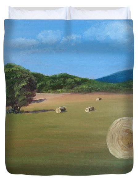 Duvet Cover featuring the painting Virginia Hay Bales by Donna Tuten
