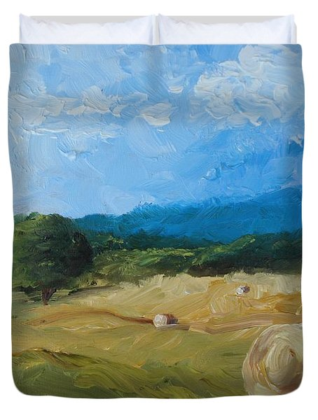 Virginia Hay Bales II Duvet Cover by Donna Tuten