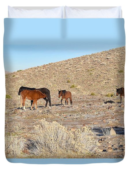 Virginia Range Mustangs Duvet Cover