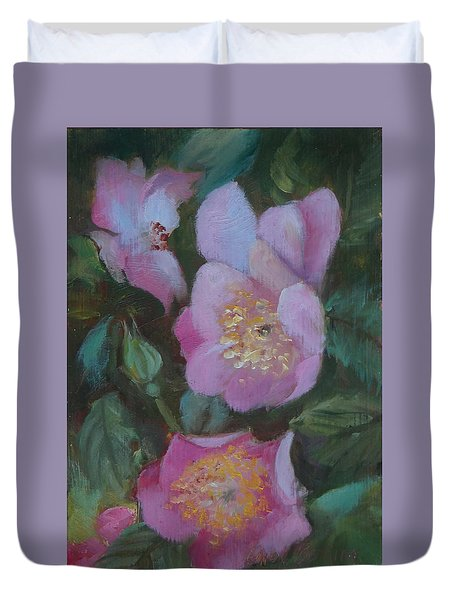 Duvet Cover featuring the painting Virginia Rose by Carol Berning