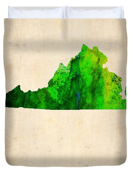 Virginia Watercolor Map Duvet Cover by Naxart Studio