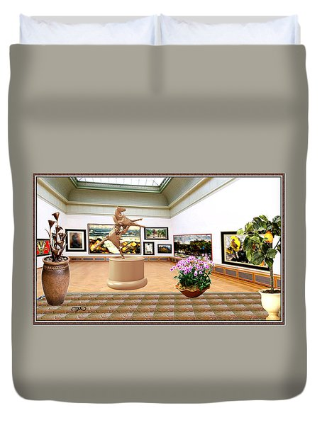 Virtual Exhibition - A Modern Horse Statue Duvet Cover by Pemaro