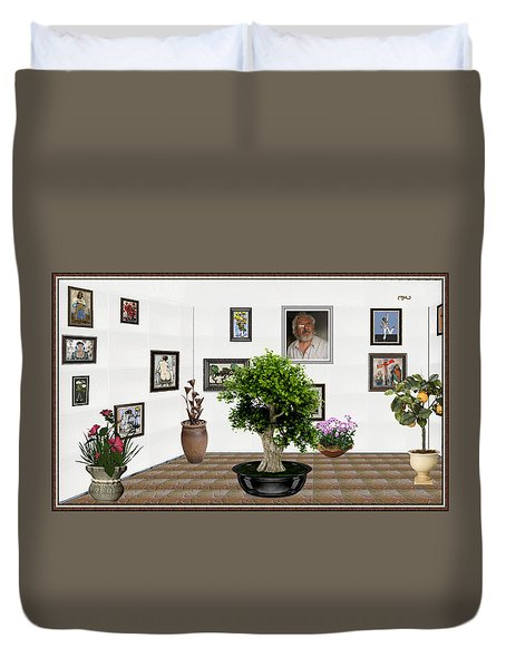 Duvet Cover featuring the mixed media Virtual Exhibition -  Bonsai 13 by Pemaro