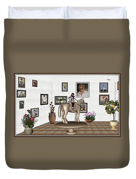 Duvet Cover featuring the mixed media Virtual Exhibition Horsewoman 13 by Pemaro