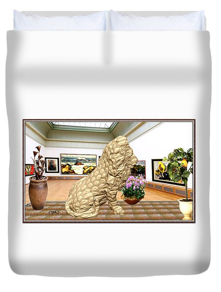 Virtual Exhibition - Statue Of A Lion Duvet Cover