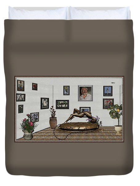 Duvet Cover featuring the mixed media Virtual Exhibition -statue Of Girl by Pemaro