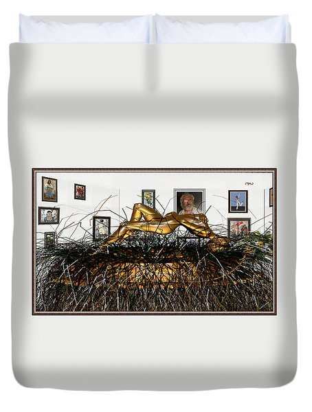 Duvet Cover featuring the mixed media Virtual Exhibition With Birthday Cake by Pemaro