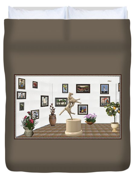 Duvet Cover featuring the mixed media Virtual Exhibition_statue Of A Horse by Pemaro