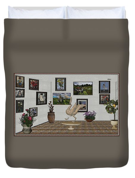 Duvet Cover featuring the mixed media virtual exhibition_Statue of swan 23 by Pemaro