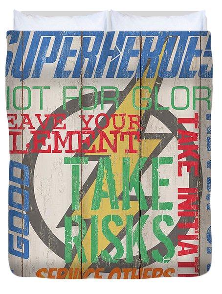 Virtues Of A Superhero Duvet Cover