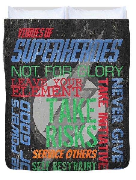 Virtues Of Superheroes Duvet Cover
