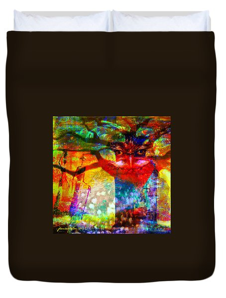 Duvet Cover featuring the mixed media Vision The Tree Of Life by Fania Simon