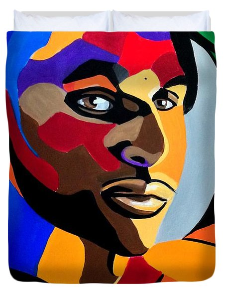 Visionaire, Abstract Male Face Portrait Painting - Illusion Abstract Artwork - Chromatic Duvet Cover