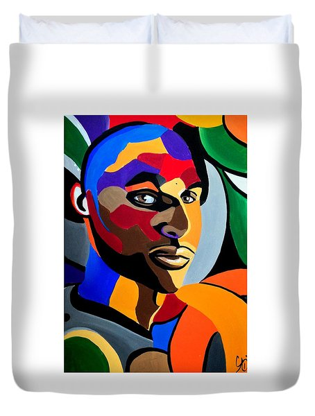 Visionaire Male Abstract Portrait Painting Chromatic Abstract Artwork Duvet Cover