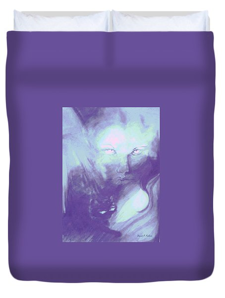 Duvet Cover featuring the painting Visions Of The Night by Denise Fulmer