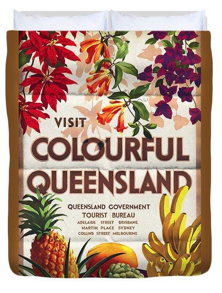 Visit Colorful Queensland - Vintage Poster Folded Duvet Cover