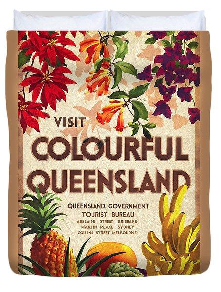 Visit Colorful Queensland - Vintage Poster Vintagelized Duvet Cover