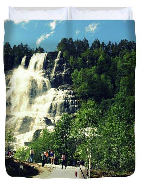Visit To Tvindefossen Falls Duvet Cover by Susan Lafleur