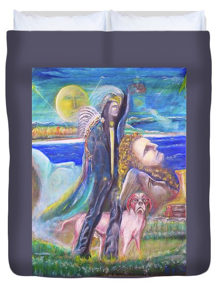 Visiting Star Beings Duvet Cover