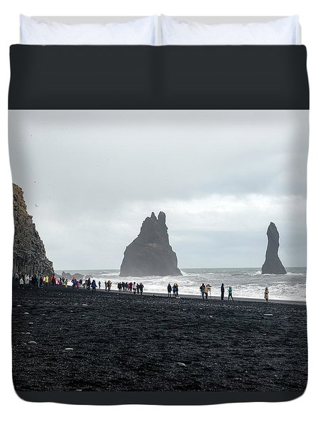 Duvet Cover featuring the photograph Visitors In Reynisfjara Black Sand Beach, Iceland by Dubi Roman