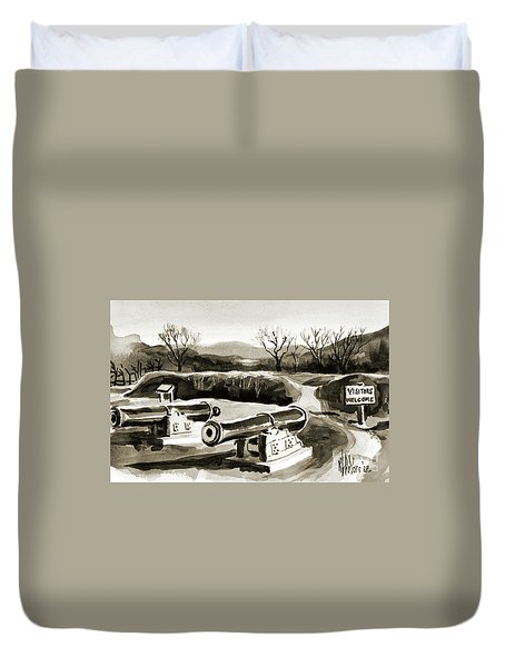 Visitors Welcome Bw Duvet Cover by Kip DeVore