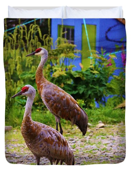 Visits From Sand Hill Cranes  Duvet Cover
