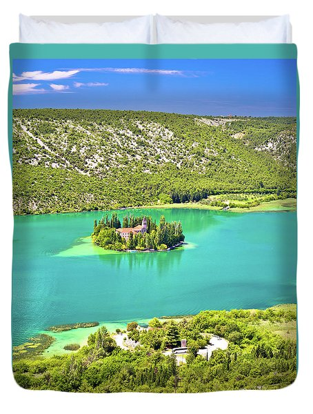Visovac Lake Island Monastery Aerial View Duvet Cover by Brch Photography