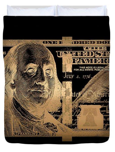 One Hundred Us Dollar Bill - $100 Usd In Gold On Black Duvet Cover
