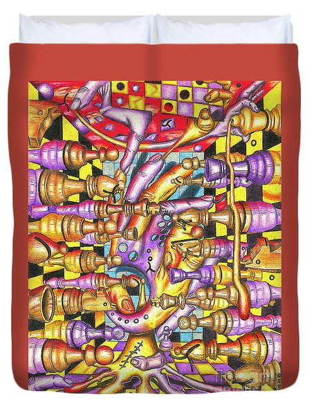 Visual Obstruction Of Probability Duvet Cover