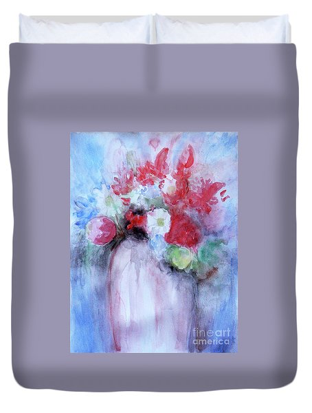 Duvet Cover featuring the painting Vitality Still Life by Jasna Dragun