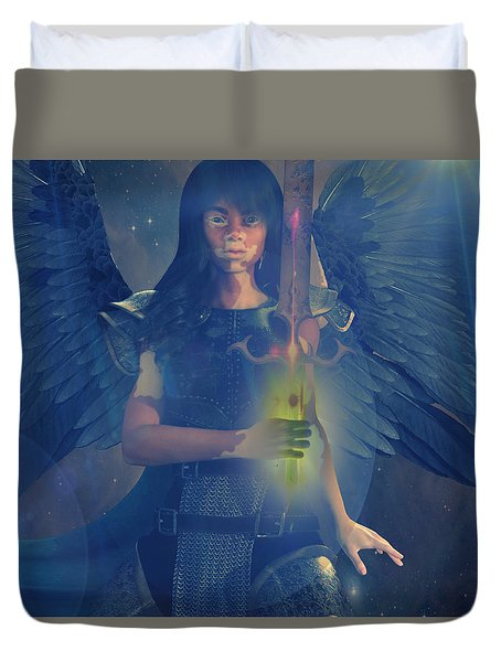 Vitiligo Angel Duvet Cover by Suzanne Silvir