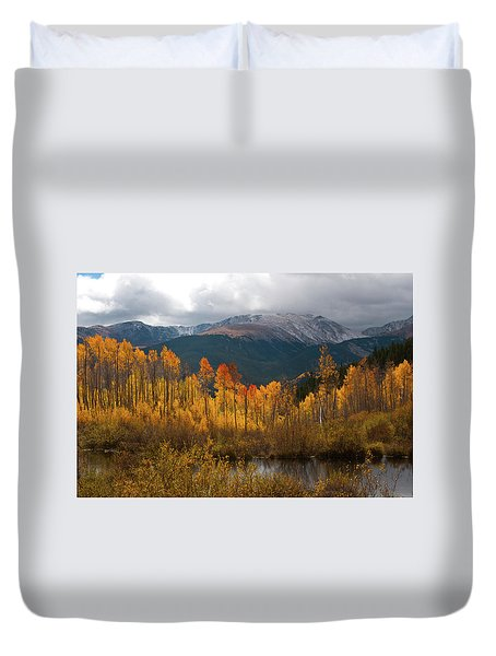 Vivid Autumn Aspen And Mountain Landscape Duvet Cover
