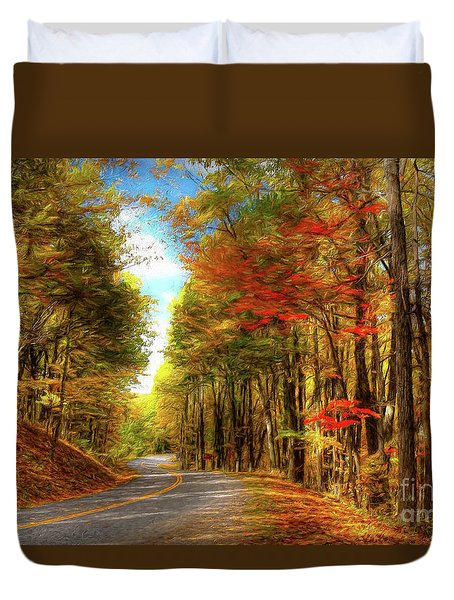 Vivid Autumn In The Blue Ridge Mountains Ap Duvet Cover by Dan Carmichael